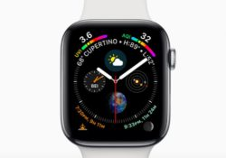 The default infograph watch face on the Apple Watch Series 4's screen is with 8 elements: UV Index, Air Quality Index, Weather, World Clock, Solar, Earth, Sunrise/Sunset, Moon.